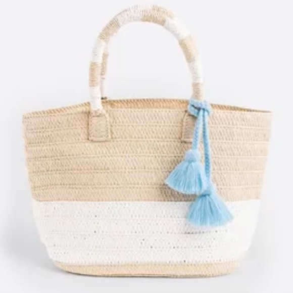 Altru Made For Good Handwoven Straw Beach Bag NWT